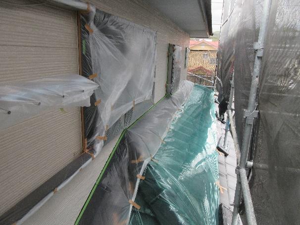 写真:窓・窓枠・瓦の養生